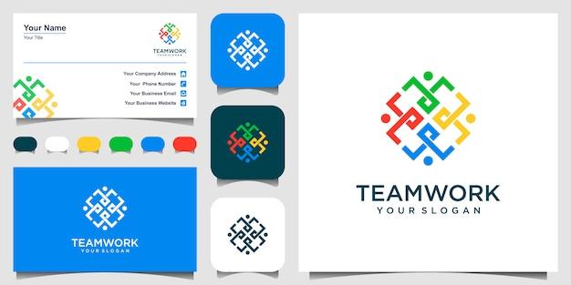 Symboles Travaillant En équipe Et Coopérant. Ce Modèle De Logo Peut Représenter L'unité Et La Solidarité Dans Un Groupe Ou Une équipe De Personnes. Logo Et Carte De Visite. Vecteur Premium