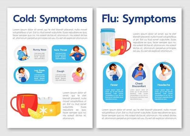 Symptômes Courants Du Virus Du Rhume Et De La Grippe Vecteur Premium