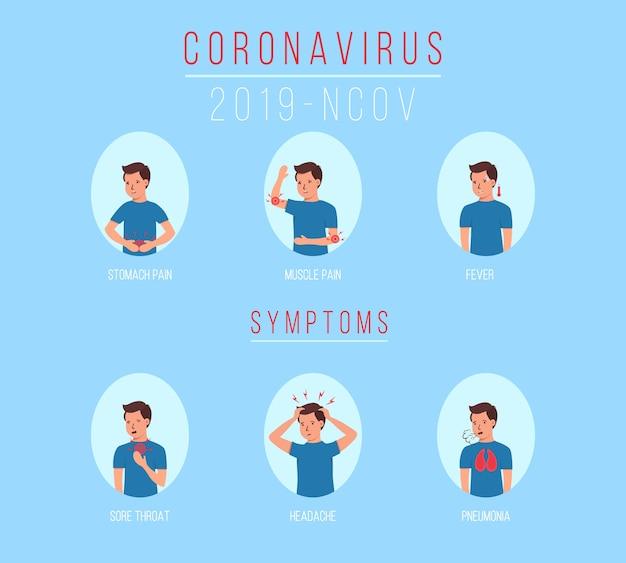 Symptômes Du Coronavirus 2019-ncov. Caractère, Homme Avec Différents Symptômes Coronavirus - Toux, Fièvre, éternuements, Maux De Tête, Difficultés Respiratoires, Douleurs Musculaires. Maladie à Virus De Wuhan. Illustration. Vecteur Premium