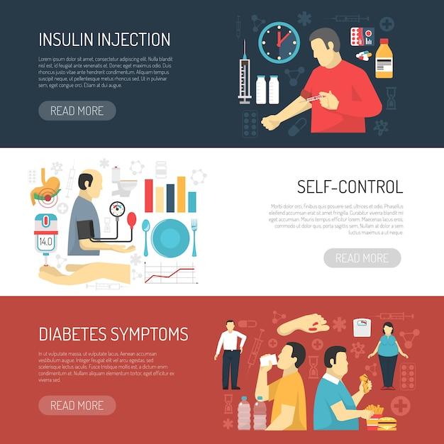 Symptômes Du Diabète Bannières Horizontales Vecteur gratuit