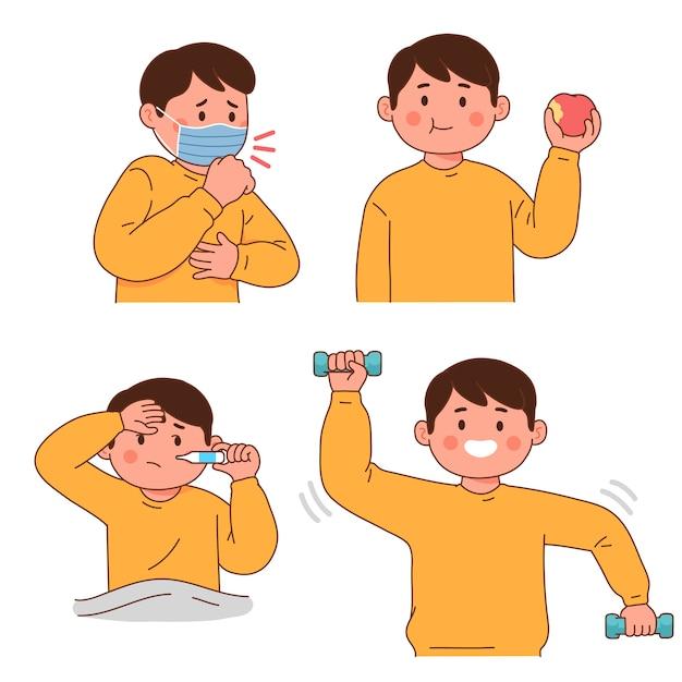 Symptômes Du Virus De La Maladie En Mangeant Sainement Et En Faisant De L'exercice Vecteur Premium