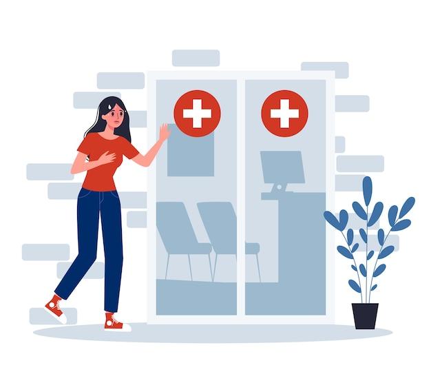 Symptômes. Une Femme Infectée Se Rend à L'hôpital Pour Un Traitement Médical. Vecteur Premium