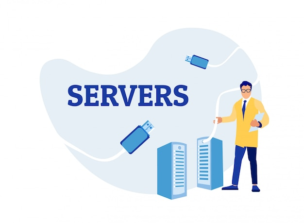 Sysadmin Man Engineer Utilisation De Server Rack Vecteur Premium