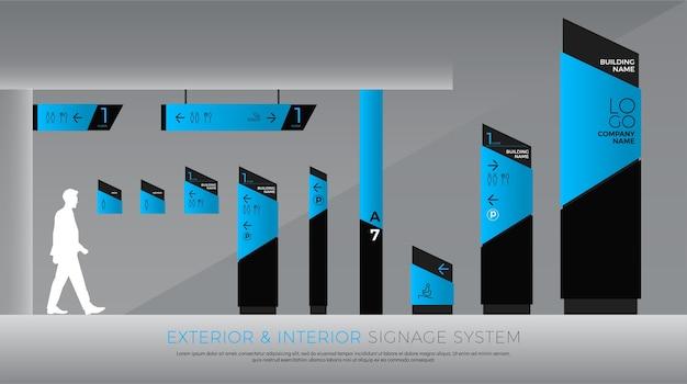 Système d'affichage intérieur et de signalisation Vecteur Premium