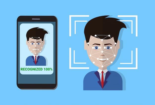 Système de balayage biométrique de visage de l'utilisateur de balayage de protection de contrôle de protection, concept de technologie de reconnaissance faciale Vecteur Premium