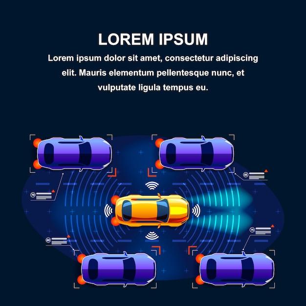 Système de circulation de voitures futures Vecteur Premium