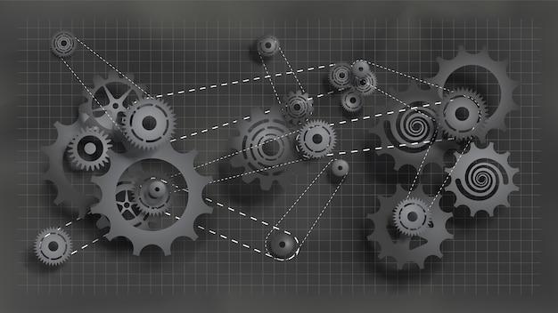Système d'engrenages et de rouages travaillant avec une chaîne. engrenages noirs et rouages au tableau Vecteur Premium