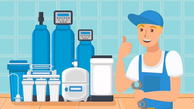 Système De Filtration D'eau Domestique Illustration Plate Vecteur Premium