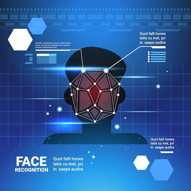 Système d'identification du visage scannig man contrôle d'accès technologie moderne concept de reconnaissance biométrique Vecteur Premium