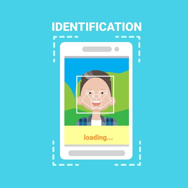 Système d'identification des visages en cours de chargement du téléphone intelligent numérisation contrôle de l'accès des utilisateurs aux technologies modernes Vecteur Premium