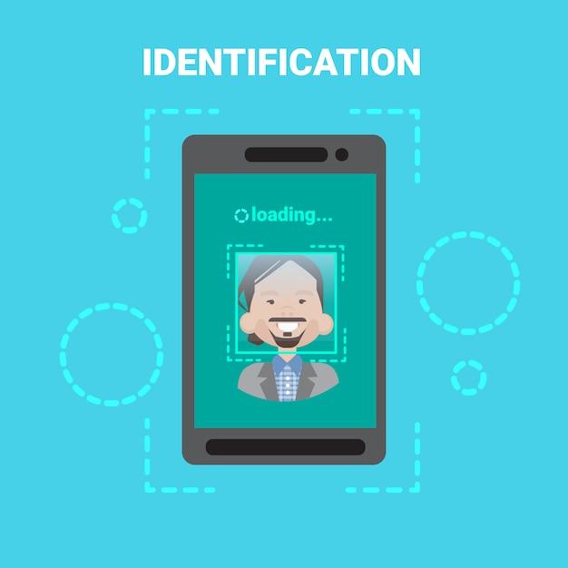 Système d'identification des visages lors du chargement d'un téléphone intelligent numérisation contrôle de l'accès des utilisateurs masculins Vecteur Premium