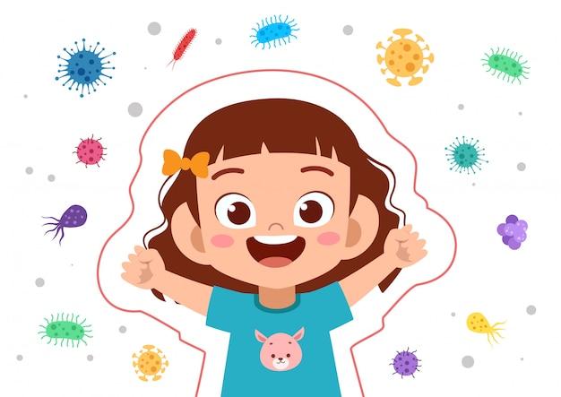 Système immunitaire enfant fille Vecteur Premium