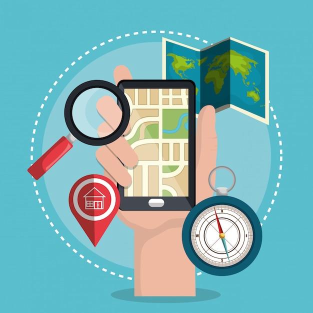 Système de localisation géographique Vecteur gratuit