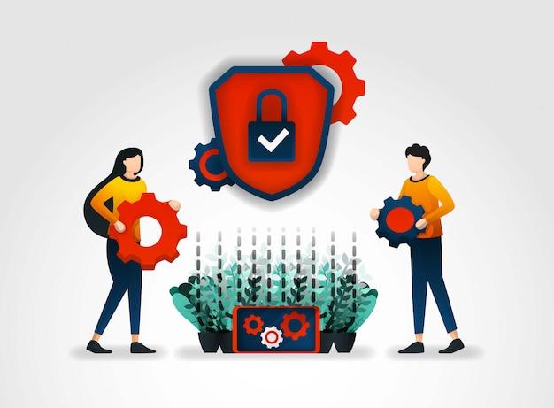 Système de mécanismes de sécurité et d'avertissements Vecteur Premium