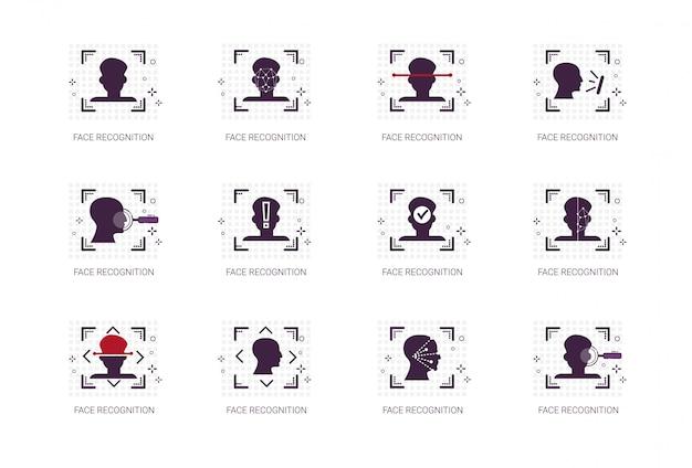 Système de reconnaissance de visage icons set identification biométrique concept thin line Vecteur Premium