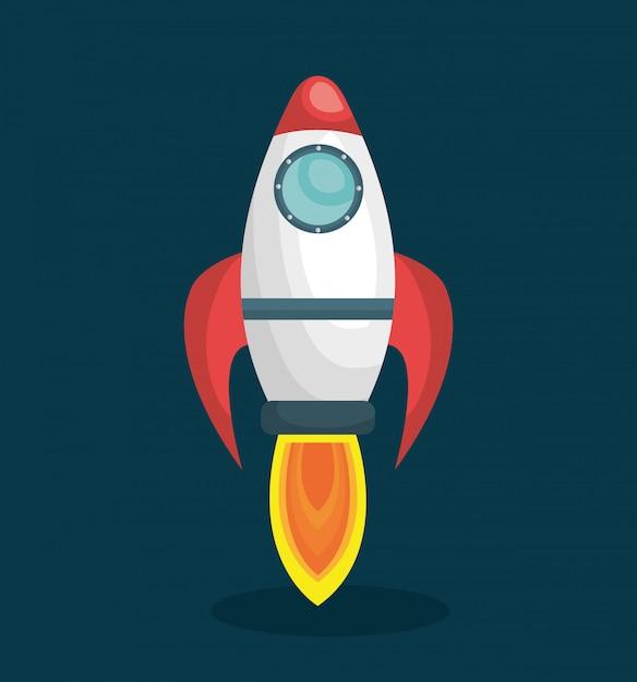 Système solaire de navire de fusée isolé Vecteur Premium