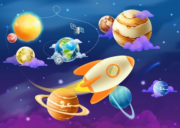 Système Solaire Des Planètes, Illustration Vecteur Premium