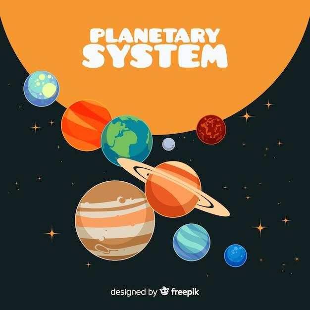 Système de système solaire classique avec deisgn plat Vecteur gratuit