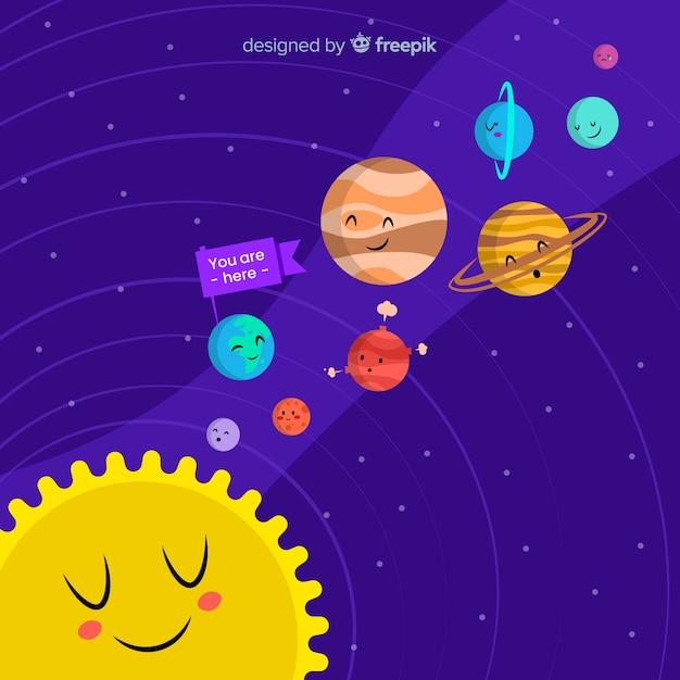 Système de système solaire dessiné à la main Vecteur gratuit