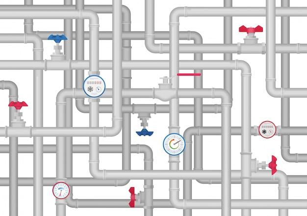 Système de tuyauterie Vecteur Premium