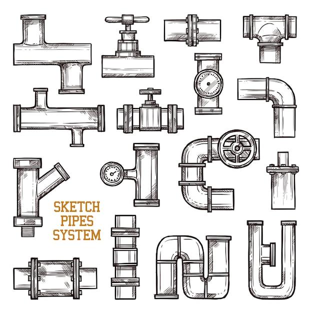 Système de tuyaux d'esquisse Vecteur gratuit