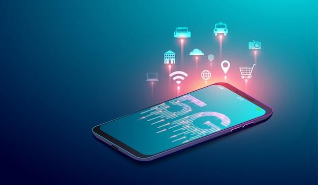 Systèmes sans fil réseau 5g Vecteur Premium