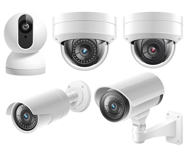 Systèmes De Surveillance Vidéo De Caméras De Sécurité à Domicile Illustration Isolé Vecteur Premium