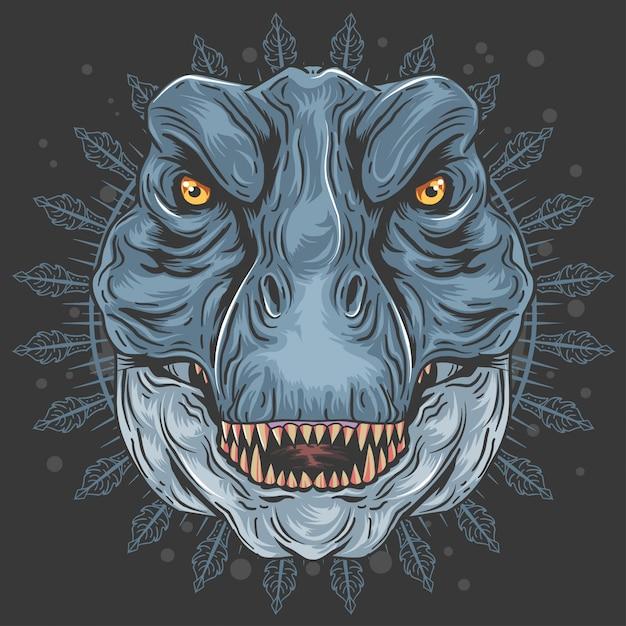 T-rex tête de dinosour mandala Vecteur Premium