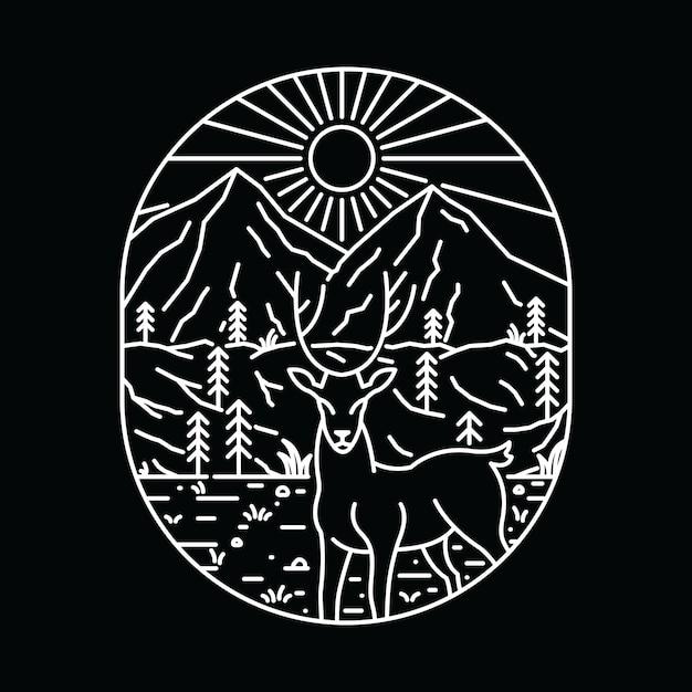 T-shirt Animal Deer Wilderness Graphic Illustration Art Vecteur Premium