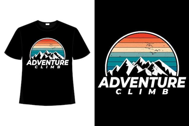 T-shirt Aventure Escalade Montagne Style Rétro Vecteur Premium