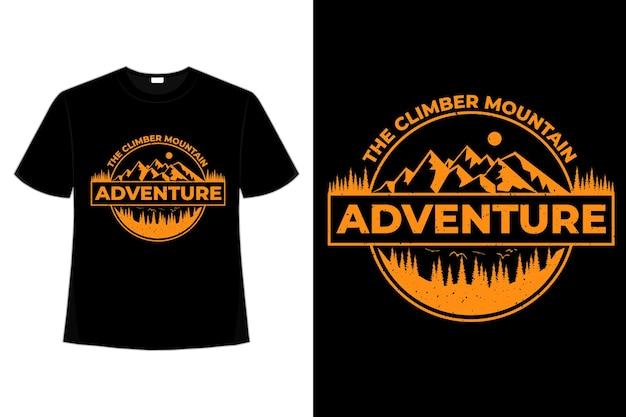 T-shirt Aventure Pin Alpiniste Vintage Vecteur Premium