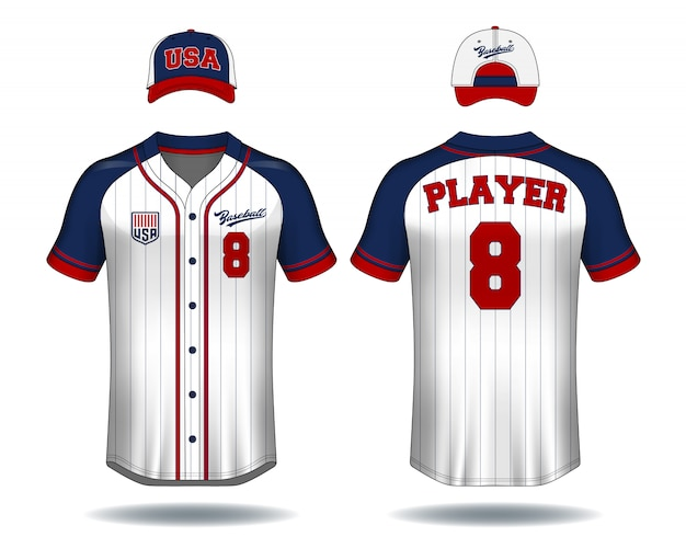 T-shirt de baseball se moquer. Vecteur Premium