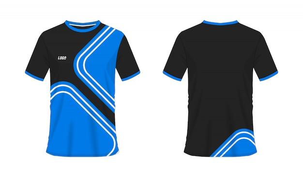 T-shirt bleu et noir modèle de football ou de football pour club sur blanc Vecteur Premium