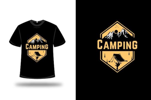 T-shirt Camping Couleur Jaune Clair Vecteur Premium
