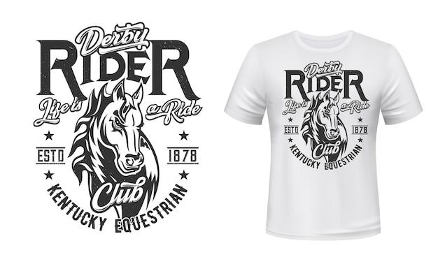 T-shirt Cheval étalon, Sport équestre Vecteur Premium