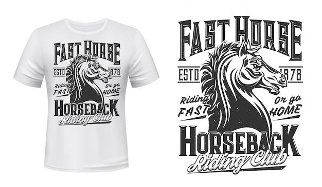T-shirt Club équestre Et équitation Imprimé Vecteur Premium