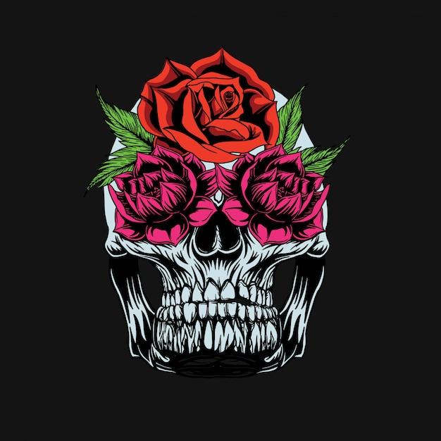 T-shirt crâne et roses Vecteur Premium