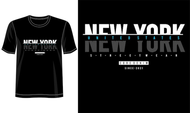 T-shirt Design New York Lettrage Typographie Vecteur Premium