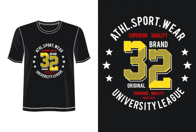 T-shirt Design Sport Wear 32 Typographie Vecteur Premium