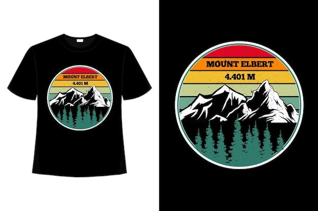 T-shirt Elbert De Montagne Pin Rétro Ciel Vecteur Premium