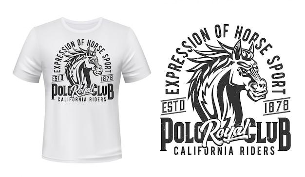 T-shirt étalon, Imprimé Sport équestre, Club De Courses Hippiques. étalon De Cheval Sauvage Ou Mustang, équitation Et Courses De Chevaux California Riders Royal Jockey Polo Club T-shirt Imprimer Vecteur Premium