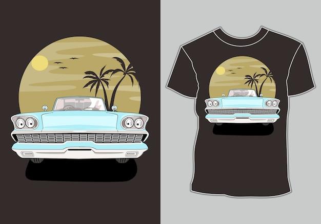 T-shirt D'été, Voiture Vintage Rétro Sur La Plage Vecteur Premium