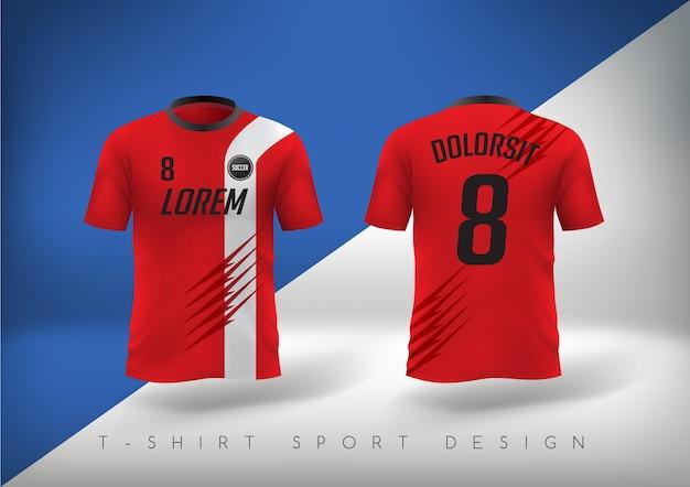T-shirt De Football Ajusté à Col Rond. Vecteur Premium