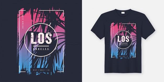 T-shirt graphique de los angeles en californie avec silhouette de palmier. Vecteur Premium