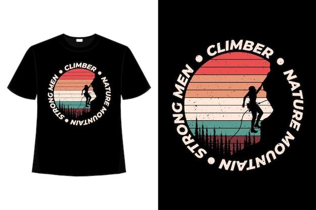 T-shirt Grimpeur Nature Montagne Style Rétro Vecteur Premium