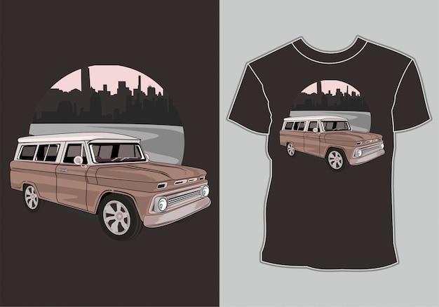 T-shirt Avec Des Illustrations Voiture Classique, Vintage, Rétro En Ville Vecteur Premium