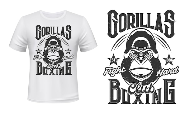 T-shirt Imprimé Gorille Boxe Fight Club Emblème Illustration Design Vecteur Premium