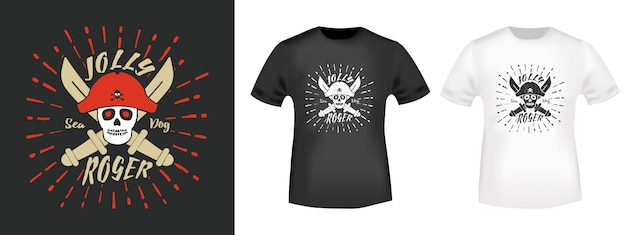 T-shirt jolly roger pirates imprimé timbre Vecteur Premium
