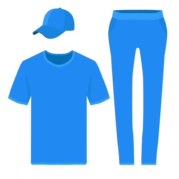 T-shirt, pantalon et casquette de baseball Vecteur Premium