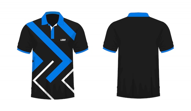 T-shirt Polo Bleu Et Noir T Illustration Vecteur Premium